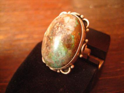 traumhaft schöner 925er Silber Ring mit großem ausgefallenen Türkis Handarbeit