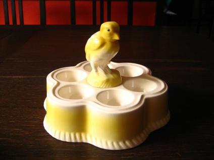 niedlicher Eierteller Kabaret Menage 6 Eier Keramik figürliches Hühnchen Küken