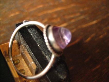zartes antikes Kinder Schmuckset Ring Ohrringe 800er / 925er Silber Amethyst - Vorschau 3