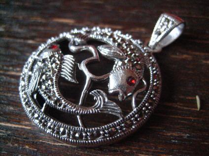 wunderschöner Markasit Anhänger 2 Goldfische Koi Karpfen 925er Silber Horoskop - Vorschau 3