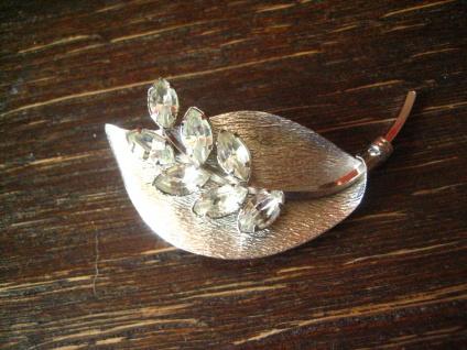 schöne vintage Brosche Blatt Blattbrosche 925er Sterling Silber Strass Steine