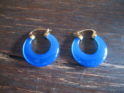 exklusive Ohrringe Hänger große Blauquarz Creolen 925er Silber gold blau NEU