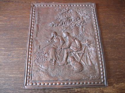 Rarität Jugendstil Buchbeschlag Buchdeckel Kupfer Bild Watteau Szene Romantik