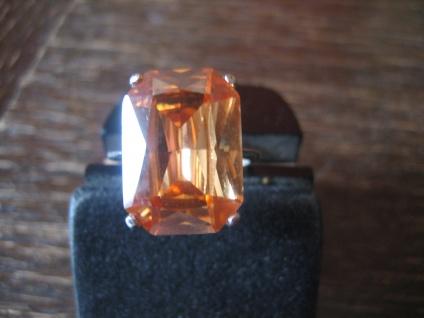 klassisch eleganter Mandarintopas Ring im Art Deco Stil 925er Silber RG 58 / 59