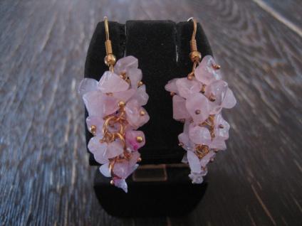 zauberhafte Ohrringe Hänger Ohrhänger Rosa Quarz gold bewegliche Trauben NEU