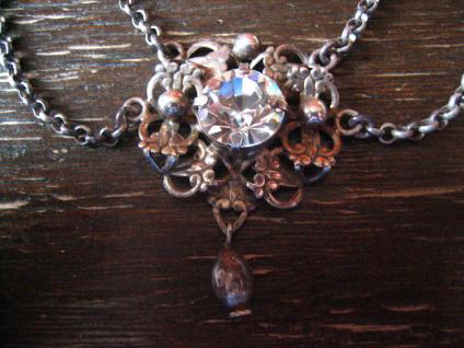 reizvolles antikes Trachten Dirndl Collier Kette 835er silber Erbskette Glitzerstein - Vorschau 3