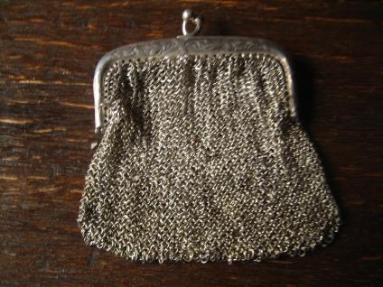 reizende Jugendstil Geldbörse Geldbeutel Kettentasche mit Innenfach 800er Silber - Vorschau 2