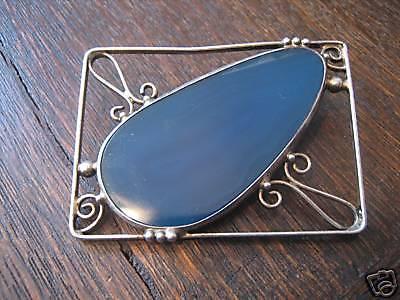 ausgefallene Designer Vintage Silber Brosche Achat Druse blau Arts & Crafts - Vorschau 1