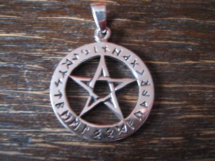 edler Anhänger Amulett Drudenfuß Pentagramm Pentakel Runen 925er Silber neu