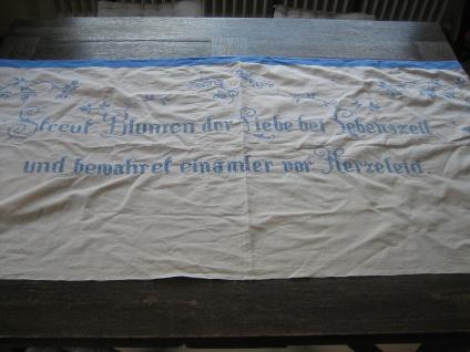 Jugendstil Wandschoner Spruchtuch Tuch bestick Streut Blumen der Liebe Landhaus