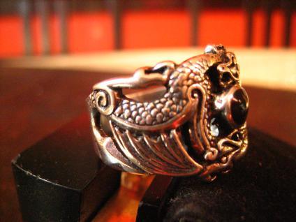 exklusiver Ring Drache 2 Drachen Double Dragon Gothic 925er Silber et Nox RG 65 - Vorschau 2