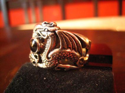 exklusiver Ring Drache 2 Drachen Double Dragon Gothic 925er Silber et Nox RG 65 - Vorschau 3