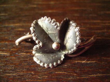 reizende Jugendstil Brosche Efeu Blatt Ivy Art Nouveau Brooch 800er Silber
