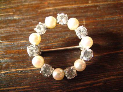 bezaubernde Art Deco Kranz Brosche Perlen Zirkonia 835er Silber signiert - Vorschau 1