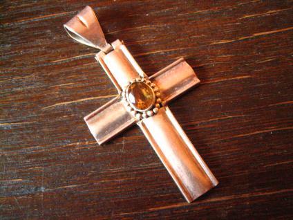 schöner moderner Kreuz Anhänger 925er Sterling Silber Citrin sehr große Öse