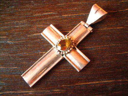 schöner moderner Kreuz Anhänger 925er Sterling Silber Citrin sehr große Öse - Vorschau 2