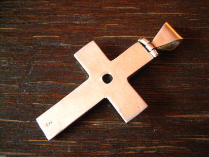 schöner moderner Kreuz Anhänger 925er Sterling Silber Citrin sehr große Öse - Vorschau 3
