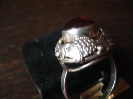 einmalig schöner Art Deco Bernstein Ring 835er Silber Fischland mit Fisch Muster - Vorschau 3