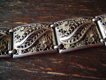 prächtiges breites Jugendstil Armband 835er Silber 19, 5 cm Handarbeit Filigran - Vorschau 3