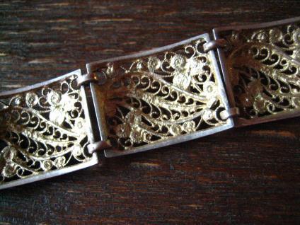 prächtiges breites Jugendstil Armband 835er Silber 19, 5 cm Handarbeit Filigran - Vorschau 4