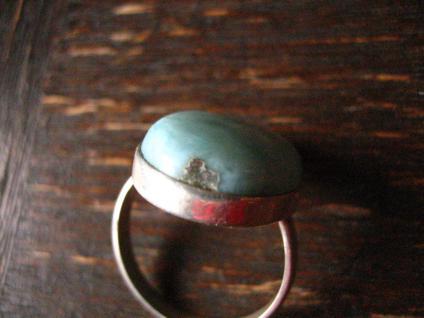 traumhafter großer Larimar Ring 925er Silber Atlantisstein Handarbeit RG 19 mm - Vorschau 3