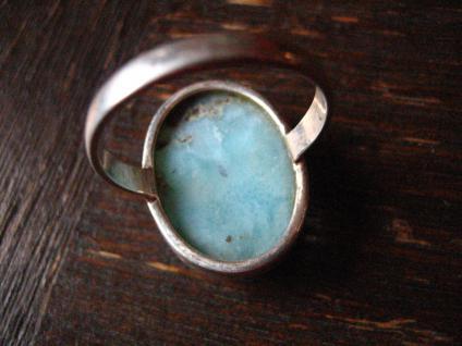 traumhafter großer Larimar Ring 925er Silber Atlantisstein Handarbeit RG 19 mm - Vorschau 4