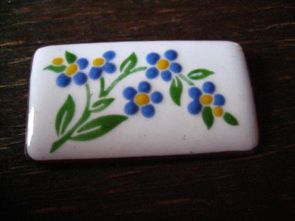 süsse Art Deco Email Emaille Brosche emailliert Vergissmeinnicht Blüten Blumen