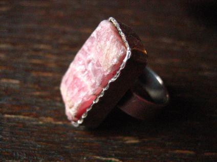 Art Deco Designer Ring 835er Silber rosa Rhodonit naturbelassen 16, 5 mm RG 52 - Vorschau 2