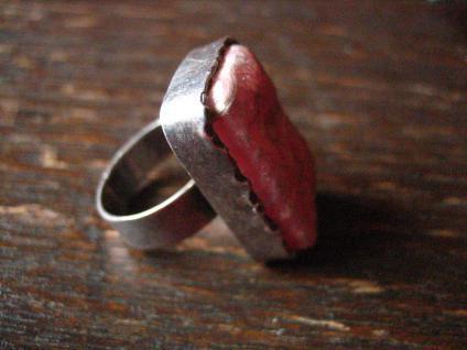Art Deco Designer Ring 835er Silber rosa Rhodonit naturbelassen 16, 5 mm RG 52 - Vorschau 4
