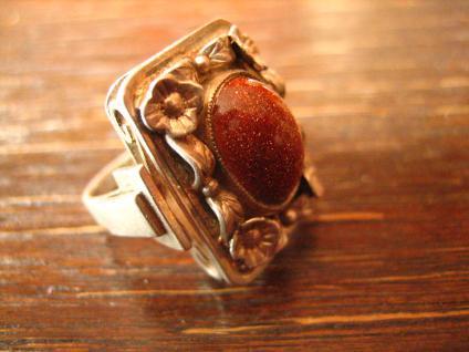 prächtiger Art Deco Ring mit Blüten und Goldfluss Handarbeit 900er Silber RG 51 - Vorschau 2