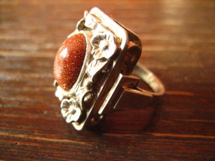 prächtiger Art Deco Ring mit Blüten und Goldfluss Handarbeit 900er Silber RG 51 - Vorschau 3