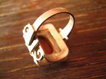 prächtiger Art Deco Ring mit Blüten und Goldfluss Handarbeit 900er Silber RG 51 - Vorschau 4