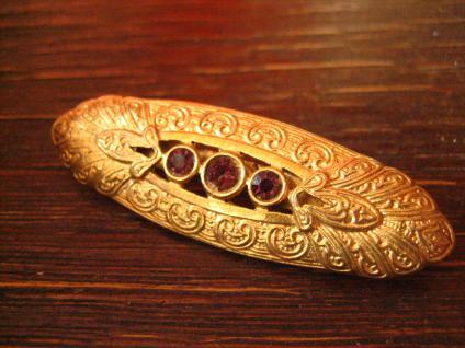 prächtige Art Deco gold Brosche mit Lila Steinen - eine Augenweide Modeschmuck - Vorschau 2