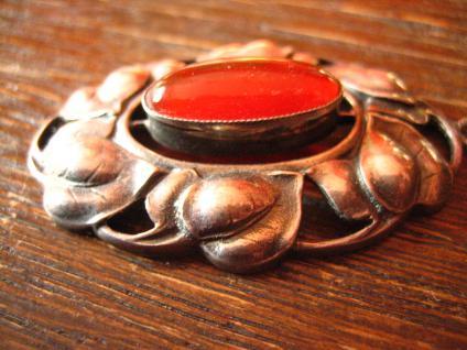 Traumhafter großer Jugendstil Anhänger getrieben 800er Silber Efeu roter Carneol - Vorschau 3