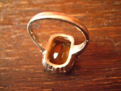 reizender Art Deco Ring mandarin Topas orange 935er Silber signiert RG 54 - Vorschau 4
