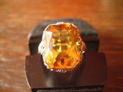 reizender Art Deco Ring mandarin Topas orange 935er Silber signiert RG 54 - Vorschau 2