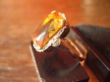 reizender Art Deco Ring mandarin Topas orange 935er Silber signiert RG 54 - Vorschau 3