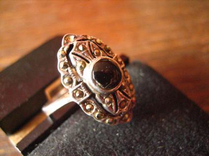 herrlicher Art Deco Onyx Markasit 925er Silber Ring Schiffchenring Rg 17, 2 / 54 - Vorschau 2
