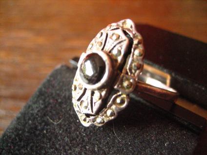 herrlicher Art Deco Onyx Markasit 925er Silber Ring Schiffchenring Rg 17, 2 / 54 - Vorschau 3