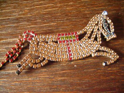 opulente Strass Brosche Pferd Hengst aufsteigend Alt Gablonz Vintage - Vorschau 2