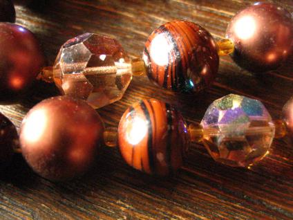prächtiges Vintage Designer Collier 2rhg braun böhmische Glasperlen 60er Gablonz - Vorschau 4
