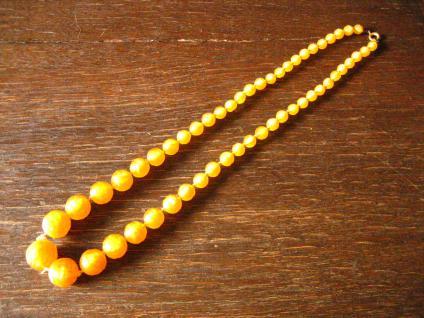Vintage Traum Pâte de Verre Glasperlen Collier Kette leuchtend gelb im Verlauf - Vorschau 2