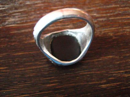 klassischer Art Deco Herrenring Siegelring 835er Silber Onyx Ring 18, 75 mm RG 59 - Vorschau 4