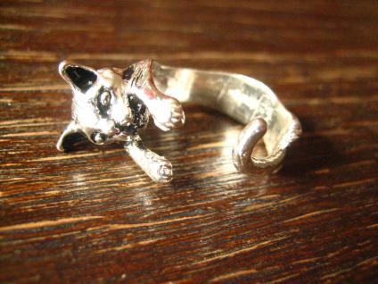 zuckersüßer Katzenring Ring Katze Kater 925er Silber neu plastisch Krafttier