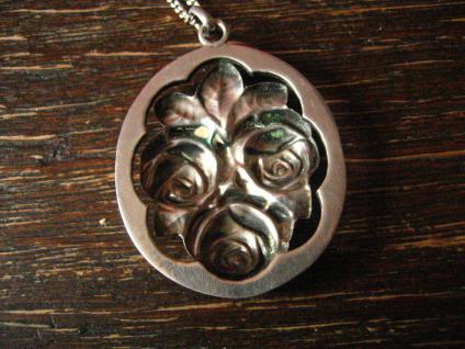 reizender Jugendstil Anhänger Rosen Rose an 925er Silber Kette Tracht Dirndl - Vorschau 4