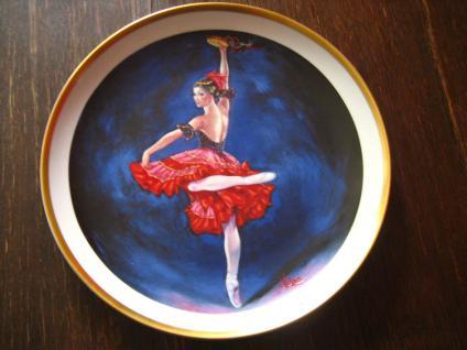 Spanische Flamenco Tänzerin Carmen auf Porzellan Teller gemalt signiert Vickers