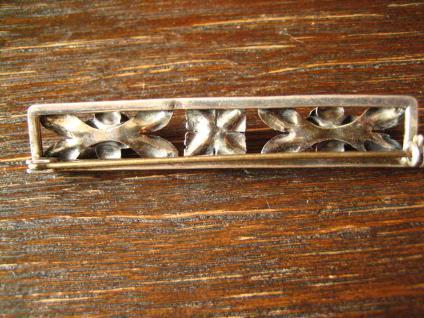 tolle Art Deco Brosche 900er Silber plastische Rosen Rose Krawattennadel Nadel - Vorschau 5