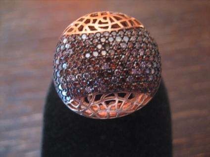 edler Statement Designer Ring 925er Silber rotgold braunes Zirkonia Pavée RG 57