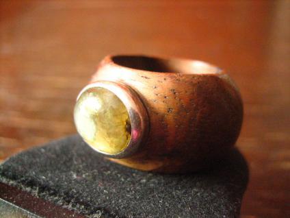ausgefallener moderner Designer Ring Holz Labradorit Holzring Silber Unikat