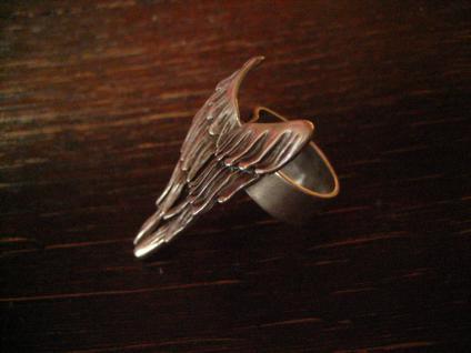 ausgefallener Engelsflügel Engel Statement Ring Designer Leonardi Arte silber B - Vorschau 2